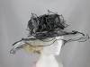 Triple Flower Organza Hat in Black & Grey