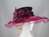 Triple Flower Organza Hat in Black & Pink