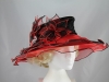 Triple Flower Organza Hat in Black & Red