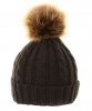 Cable Knit Kids Hat with Pom Pom in Black