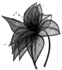 Elegance Collection Sinamay Leaf Fascinator in Black