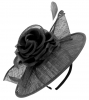 Failsworth Millinery Silk Rose Disc Headpiece in Black
