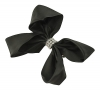 Molly and Rose Small Diamante Hair Bow in Black