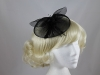 Net and Feathers Fascinator in Black