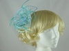 Aurora Collection Fascinator with Curled Fabric and Biots in Blue