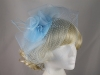 Organza and Net Fascinator in Blue