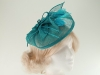Sinamay Veil and Leaves on clip in Blue