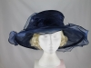 Wide Brimmed Rosette Organza Hat in Blue