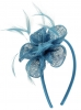Elegance Collection Diamante Flower Fascinator in Bluebell