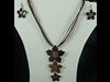 Triple Flower Necklace with Earrings in Brown