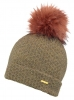 Alice Hannah Knitted Bobble Ski Hat in Brown