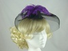 Bright Feather & Veil Fascinator in Black & Purple