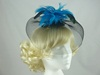 Bright Feather & Veil Fascinator in Black & Turquoise