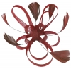 Aurora Collection Fascinator with Loops and Feathers in Burgundy