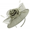 Failsworth Millinery Silk Rose Disc Headpiece in Carbon-Silver