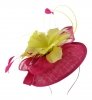 Failsworth Millinery Quills Disc Headpiece in Cerise & Zest