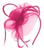 Aurora Collection Swirl & Biots Fascinator on aliceband in Pink / Cerise