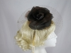 Hawkins Collection Flower and Net Headpiece in Chocolate