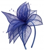 Elegance Collection Sinamay Leaf Fascinator in Cobalt