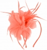 Aurora Collection Feather Aliceband Fascinator in Coral