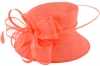 Elegance Collection Quill and Loops Wedding Hat in Coral