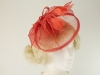 Aurora Collection Sinamay Veil and Leaves in Coral