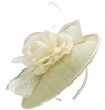Failsworth Millinery Silk Rose Disc Headpiece in Cream-Silver