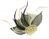 Aurora Collection Two Tone Rose Fascinator in Cream & Black