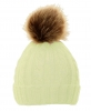 Cable Knit Kids Hat with Pom Pom in Cream
