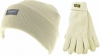 Thinsulate Ladies Beanie Ski Hat with Matching Gloves in Cream