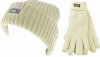 Thinsulate Ladies Chunky Beanie Ski Hat with Matching Gloves in Cream