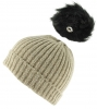 Zelly Detachable Bobble Beanie Hat in Cream