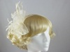 Aurora Collection Fascinator with Curled Fabric and Biots in Cream