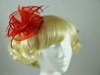 Fascinator with Curled Fabric and Biots in Red