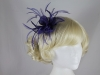 Failsworth Millinery Sinamay Leaves and Feathers Fascinator in Damson