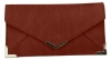 Papaya Fashion Faux Leather Envelope Bag in Dark Red
