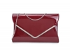 Papaya Fashion Patent Large Clutch Bag in Dark Red