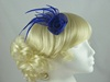 Double Flower & Leaves Fascinator in Royal Blue