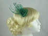 Double Flower & Leaves Fascinator in Green