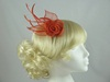 Double Flower & Leaves Fascinator in Red