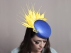 Deb Fanning Millinery Electra Large Blue Smartie Hat with Yellow Feather