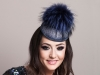 Deb Fanning Millinery Electra Navy Smartie Hat with Faux Fur Pom Pom