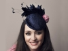Deb Fanning Millinery Navy Feathered Smartie Hat