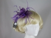 Failsworth Millinery Sinamay Leaves and Feathers Fascinator in Dewberry