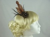 Flower Fascinator with Diamante in Brown