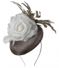 Failsworth Millinery Button Asoct Headpiece in Fawn & White