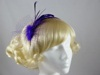 Feather and Net Fascinator in Purple