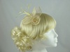 Aurora Collection Flower & Leaves Fascinator in Cream