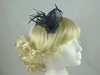 Aurora Collection Flower & Leaves Fascinator in Navy