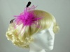 Feathery Leaf Fascinator in Pink / Cerise